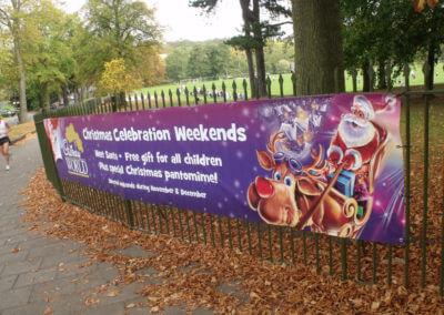 school fence banner