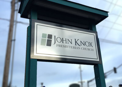 John Knox Presbyterian Post and Panel Sign 1