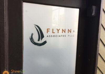 Dark door graphics with logo