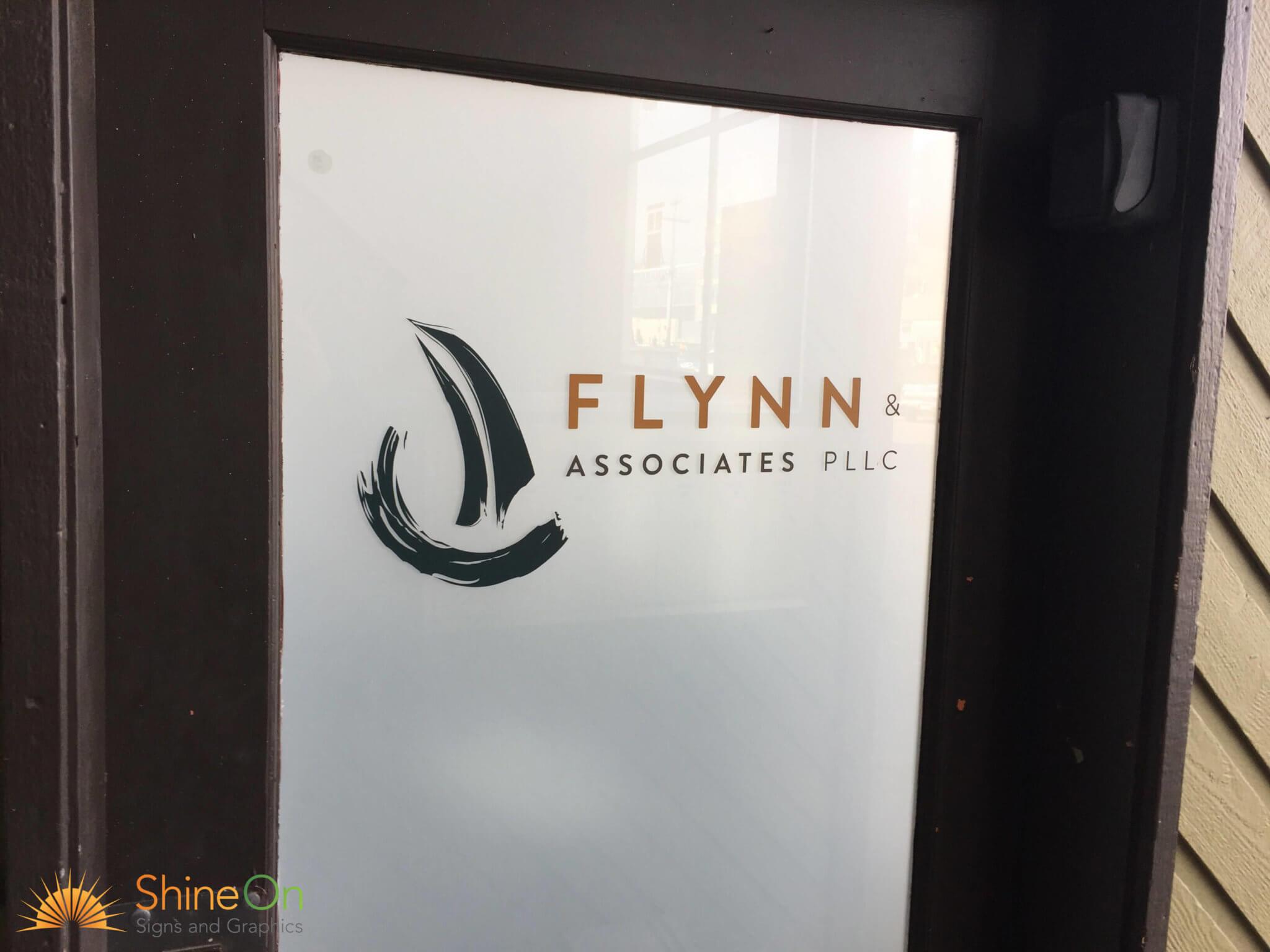 Dark door graphics with logo & Door Signs Renton Kent Bellevue Auburn Burien WA