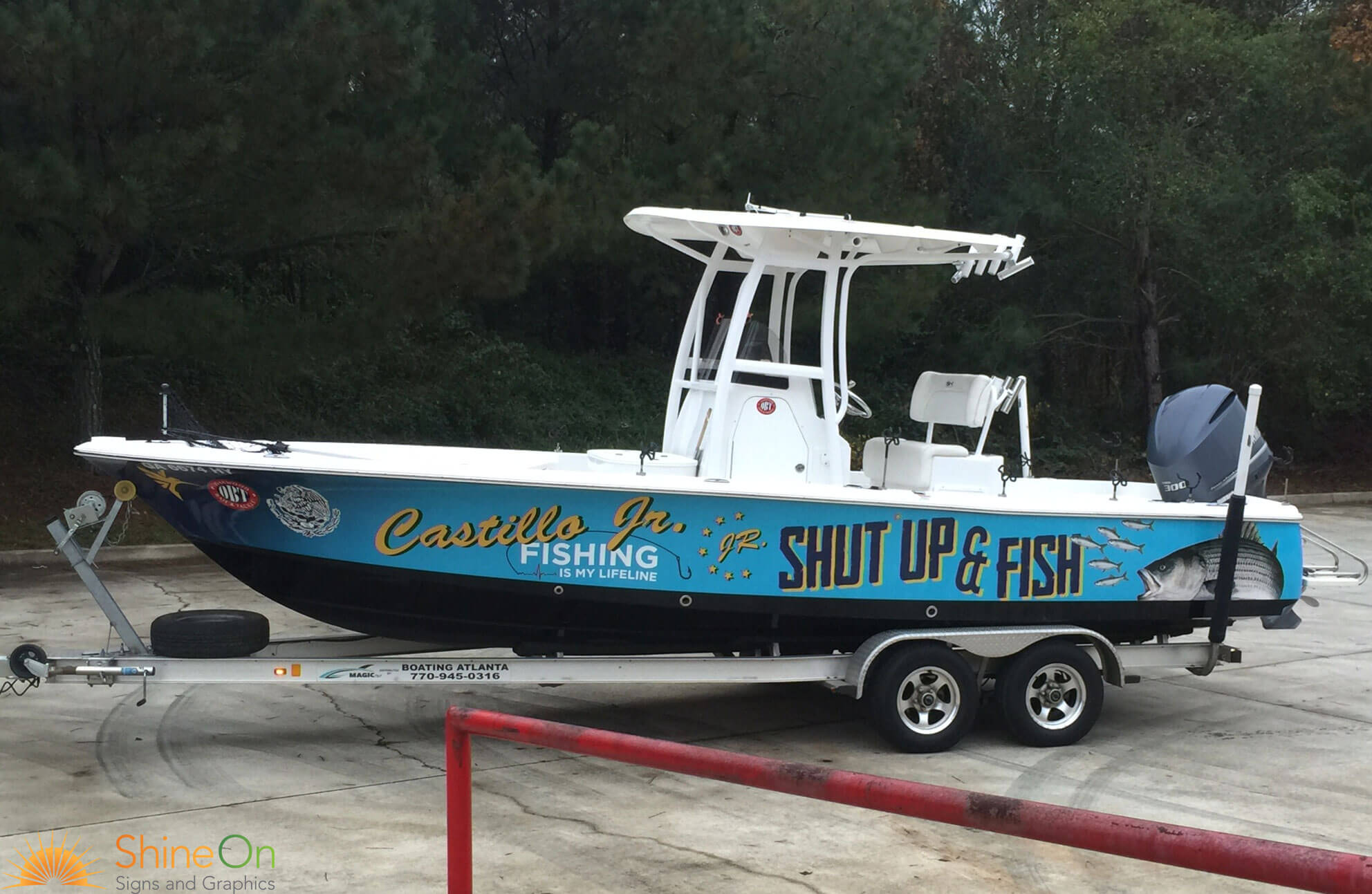 Boat wraps and graphics shine on signs seattle wa for Fishing boat wraps